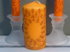 Wedding hand painted candlesPainted Bronze by InspirellaDesign