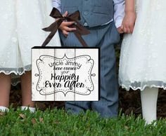 Here Comes Your Happily Ever After - Wedding Printable - Happily Ever After Sign - Rustic Wood - Chalkboard - Mount on Canvas - DIY Sign - Instant Download  Planning a wedding and looking for an adorable sign for your flower girl or ring bearer to hold as they walk down the aisle?This is it! Choose from the rustic wood background, chalkboard or have me create a custom background to match your wedding decor!