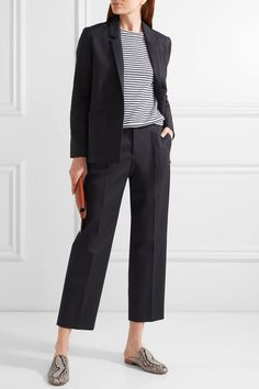 A.P.C. Atelier de Production et de Création - Amalfi Cropped Cotton-blend Straight-leg Pants - Midnight blue