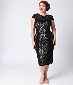 You work hard for those gorgeous curves, darling, so show them off with this plus size vintage-inspired lace wiggle dress from Unique Vintage. The Dolce wiggle dress features an unattached and adjustable champagne dress base that fits close against the bo