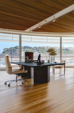Luxury Living Group Fendi Casa furnishes the new Monaco Yacht Club #office #desk #hardwood