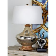 Decmode Glass and Wood Table Lamp, Multi Color, White Table Lamp Wood, Table Lamp Sets, Desk Lamp, Wood Detail, Crackle Glass, Wood Accents, Incandescent Bulbs, Drum Shade, Wood Colors