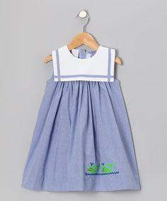 Blue Gingham Whale Sailor Float Dress - Infant & Toddler