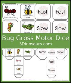 Free bug themed gross motor dice - movement and speed dice for kids to have Bug Activities, Gross Motor Activities, Team Building Activities, Gross Motor Skills, Therapy Activities, Toddler Activities, Insect Games, Bug Games, Dice Games