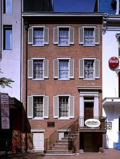 Petersen House, where Abraham Lincoln was carried and died after assassin John Wilkes Booth mortally wounded him across the street at Ford's Theatre, Washington, D.C.  [As house stands and looks today]