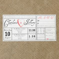 Vintage antique wedding ticket invitation £2.50 use with postcard