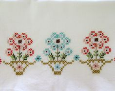 Vintage Pillowcases Embroidered Flowers In Pots by CinfulOldies