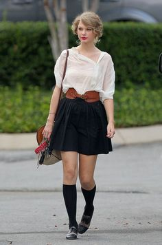 taylor swift black skirt and socks