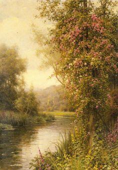 A Flowering Vine along a Winding Stream with a Country Church Beyond by Louis Aston Knight