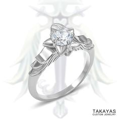 Custom 14K Kingdom Hearts inspired Oathkeeper engagement ring with a diamond Paopu Fruit setting for Jefferson and Maria by Takayas Custom Jewelry