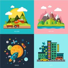 Flat Design Landscape Illustration - Buildings Objects
