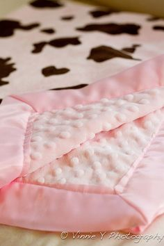 Minky Baby Girl Blanket! Could do this as a crib blanket! Easy make!