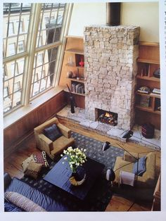 windows and fireplace