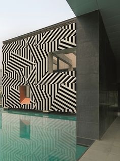 Love the graphic wall pattern