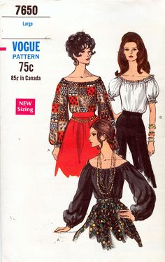 Vogue 7650 ca.1965 Gorgeous Hispanic Style Peasant Blouses SZ Large Bust 38-40 - New Vintage Studio
