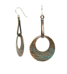 etched copper disk earrings - Esma Studios Jewelry
