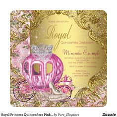 Royal Princess Quinceañera Pink and Gold Invitations