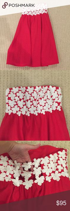 Tibi linen dress Strapless linen dress with flowers Tibi Dresses Strapless