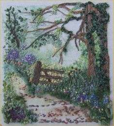 New York Vintage Linens- Tree & Gate embroidery by Laura Bateman Silk Ribbon Embroidery, Crewel Embroidery, Embroidery Thread, Cross Stitch Embroidery, Garden Embroidery, Primitive Embroidery Patterns, Art Textile, Lesage, Thread Painting