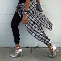 Gorgeous strappy stilettos in silver, with grungy plaid and black joggers~