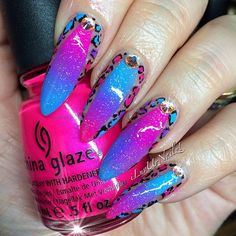 My Nails for the moment… Cotton Candy Leopard Print  #ChinaGlaze Fairy Dust is my fav glitter ever!