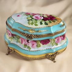 Lovely Limoges antique box. Such pretty blue