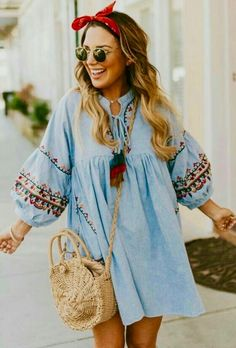 Blue Casual Hippie Dress. Lovely Styles << Embroidery Clothings and Bags as featured on Pasaboho. ❤️ Available for Wholesale and Retail. :: boho fashion :: gypsy style :: hippie chic :: boho chic :: outfit ideas :: boho clothing :: free spirit :: fashion trend :: embroidered :: flowers :: floral :: lace :: summer :: fabulous :: love :: street style :: fashion style :: boho style :: bohemian :: modern vintage :: ethnic tribal :: boho bags :: embroidery dress :: skirt :: cardigans :: jacket…