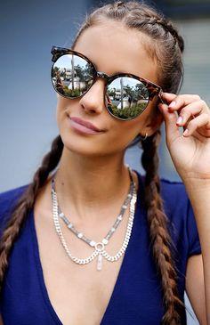 Summer Sunglasses. Long braids for women.