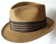 Vintage Straw Mens Fedora Hat by marvita13 on Etsy