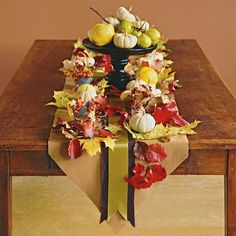 Easy kraft paper and ribbon runner with lots of leaves, mini pumpkins and pears