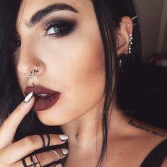 """@TheKatVonD Innerstellar Eyeshadow Palette on my eyes  @Anastasiabeverlyhills 'Heathers' liquid lipstick on my lips  Contact lenses are @desioeyes New…"""