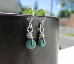 By the Sea // tiny turquoise drop by TwigAndPebbleJewelry on Etsy