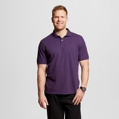 Men's Big & Tall Pique Polo Shirt Purple Xxl Tall - Merona, Size: Xxl T