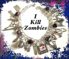 GRAPHICS /& MORE Zombie Hunter Red Skull Silver Plated Bracelet Antiqued Charm