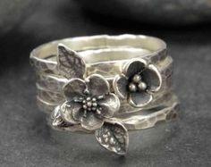 Sterling Flower ringen Pod Poppy vergeet Me niet door HollyPresley
