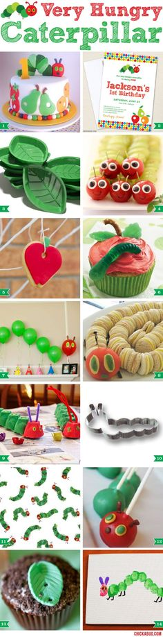 Adorable ideas for a Very Hungry Caterpillar party - I love the caterpillar sandwiches!