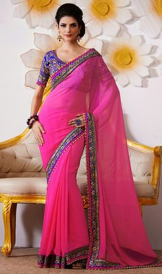 Pink Chiffon Embroidered Saree Price: Usa Dollar $145, British UK Pound £86, Euro107, Canada CA$158 , Indian Rs7830