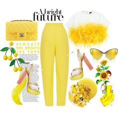 Color of Fashion: Sunshine by harperleo on Polyvore featuring moda, Dsquared2, Delpozo, Andy Wolf, Deborah Lippmann, Jayson Home and Chanel
