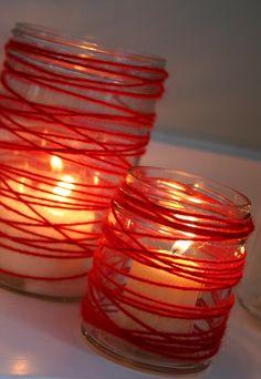Red Yarn Wrapped Around Jars. Valentines Days Ideas #Valentines, #pinsland, https://apps.facebook.com/yangutu