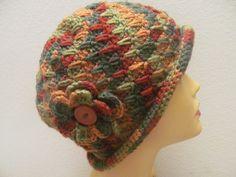 Cloche Women Hat with Flower And BUttonWomen Hat by zahraknitting, $27.90