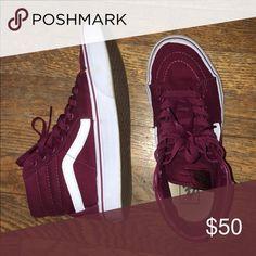 maroon sk8-hi vans barely wore them :) Vans Shoes Sneakers