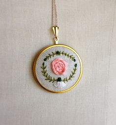 Silk Ribbon Embroidery Light Pink Rose Flower by TheMarshWrenShop