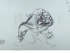 """Pencil test of The Beast from Disney's """"Beauty and The Beast"""" by Glen Keane."""
