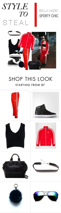 STYLE TO STEAL-BELLA HADID by a-le-mode on Polyvore featuring Sans Souci, adidas, French Connection, ZeroUV and adidas Originals