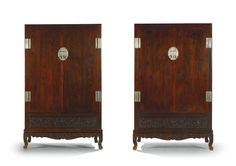 A Fine Pair of Huanghuali Square-Corner Cupboards on stands, Ligui<br>17th/18th Century   lot   Sotheby's