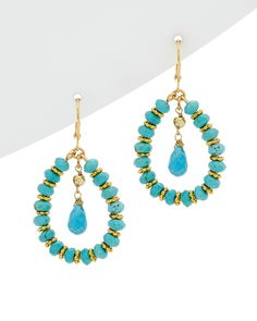 Spotted this Rachel Reinhardt 14K Plated Turquoise Drop Earrings on Rue La La. Shop (quickly!).