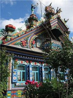 A psychedelic house of Russian blacksmith _ in a Russian village near Yekaterinburg city. They say the blacksmith himself has already passed away and his wife gets offers to sell it regularly but she denies them.
