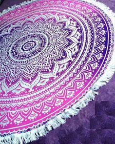 Hot Pink Mandala Boho Roundie Round Beach Towel
