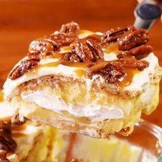 dessert falls somewhere between pecan pie banana pudding and an icebox cake That means that 1 Its ridiculously overthetop delicious and 2 Its never going to be completely. Pecan Desserts, Pecan Recipes, Fall Desserts, Just Desserts, Sweet Recipes, Baking Recipes, Pecan Pies, Easy Yummy Desserts, Angel Food Cake Desserts