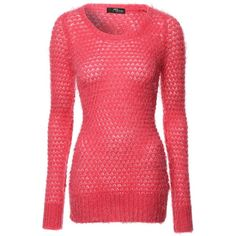 Jane Norman Fluffy Circle Knit Jumper (£12) ❤ liked on Polyvore featuring tops, sweaters, clearance, pink, red top, circle sweater, textured knit sweater, knit tops and slim fit sweater
